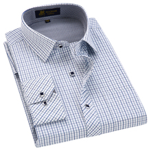 2018 Spring Classic style Plaid shirt  for male  silk and cotton fabric long sleeve slim fit non-iron causal men's shirts