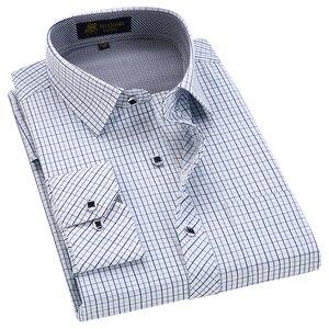Image 5 - Klassieke Stijl Plaid Shirt Voor Mannelijke Zijde En Katoen Lange Mouwen Slim Fit Strijkvrij Causale Mannen shirts