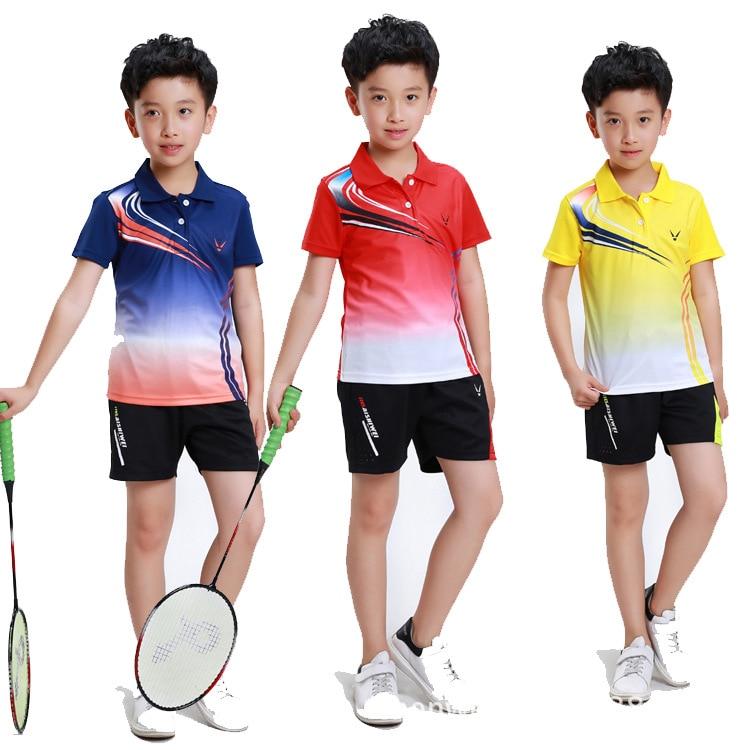 Kids Tennis Shirts + Shorts Clothes Running Badminton Short Sleeves T-shirt Tees Tops Comfortable Suit Children Badminton Jersey