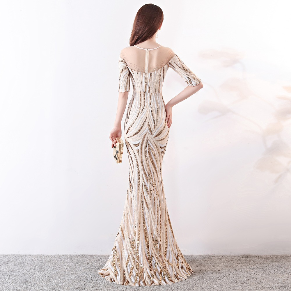 Elegant Crystal Beaded See Through Voile Shor Sleeve Mermaid Long Formal Dresses For Women 2018 Sexy Nightclub Wear Party Dress (15)