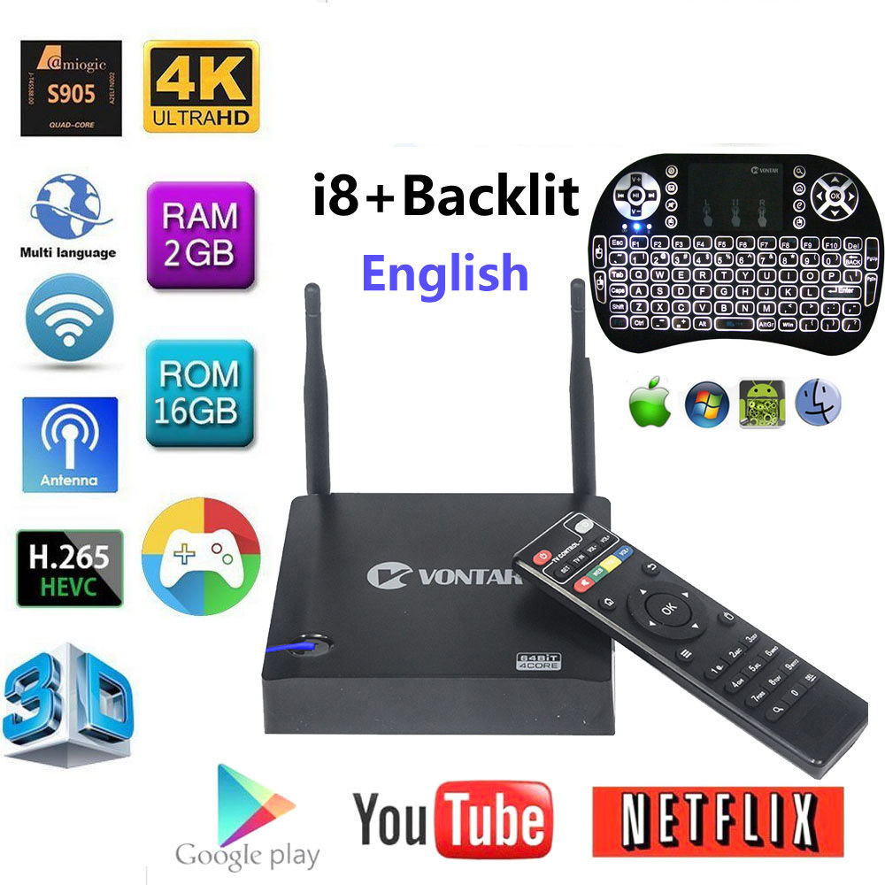 [Véritable] VONTAR KIII Amlogic S905 K3 Android 5.1 TV BOX 4 K Quad Core 2 GB/16 GB 2.4G/5 GHz Double WIFI BT4.0 Smart Media player