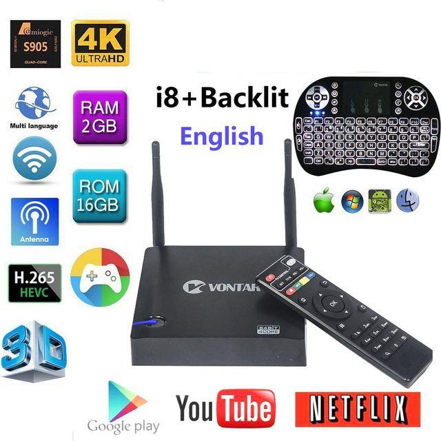 [Genuine] VONTAR KIII Amlogic S905 K3 Android 5.1 TV BOX 4K Quad Core 2GB/16GB 2.4G/5GHz Dual WIFI BT4.0 Smart Media player