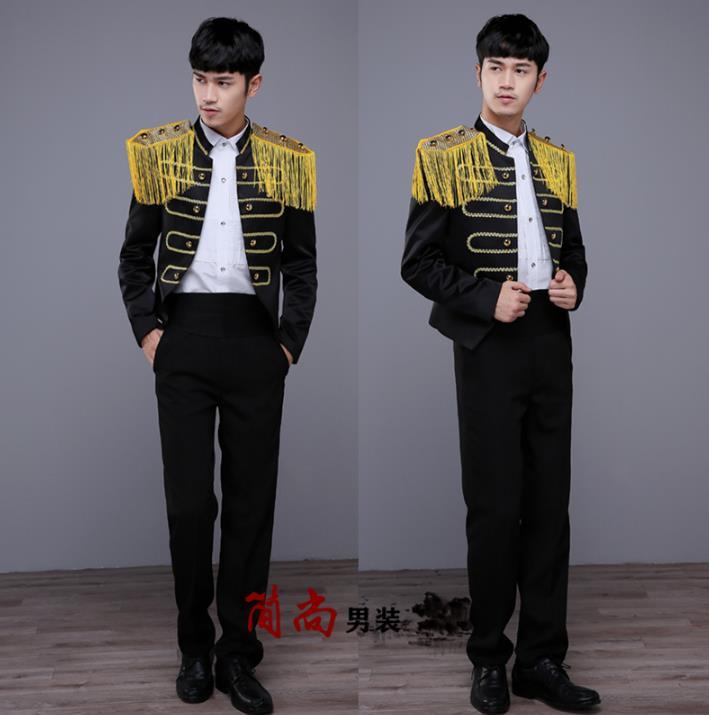 Blazer hommes général maréchal effectué costume hommes costume homme palace scène performances costumes pour hommes pantalon noir nouveauté