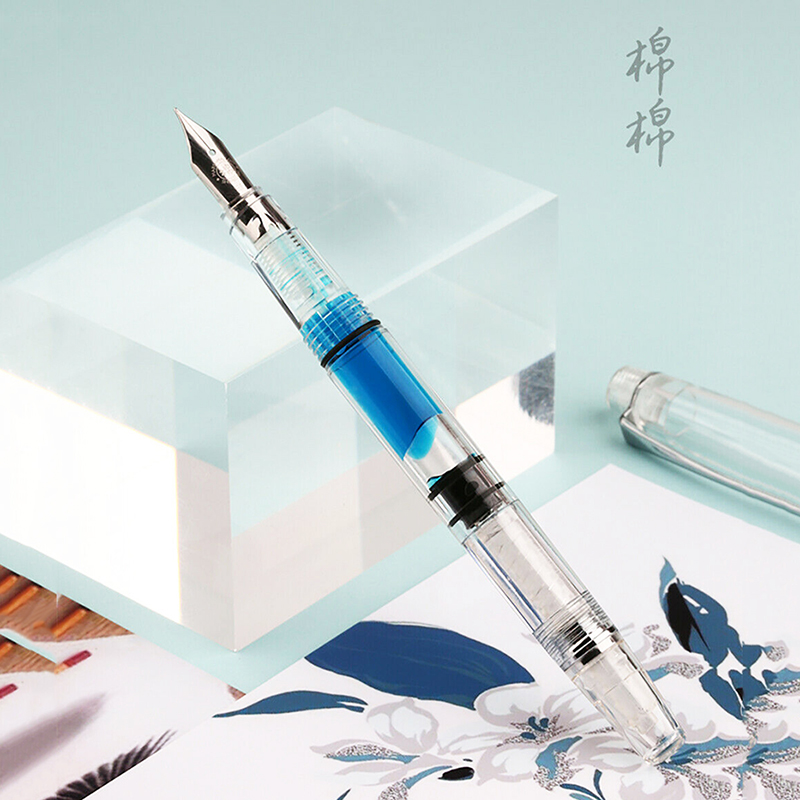 New PENBBS 494 Piston Fountain Pen Resin Fully Transparent Clear Quality EF/F Nib 0.38/0.5mm Ink Gift Pen For Business Office