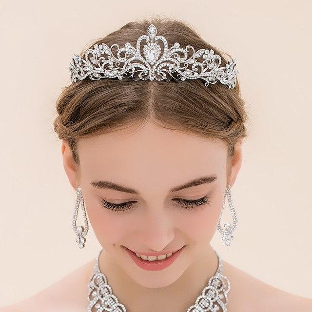 2a3a342a562e Для женщин тиара Корона Свадебные Женские аксессуары для волос тиара свадебных  диадемы для невест волос Украшения