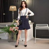 Dabuwawa Autumn 2018 Office Lady A Line Split Skirt Striped Button Empire Knee Length Skirts
