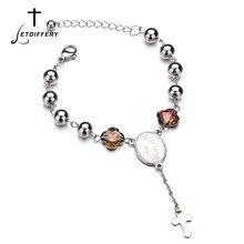 749540cf0fa8 Letdiffery Womens cadena Rosario Cruz pulseras de acero inoxidable católica  religiosa joyería