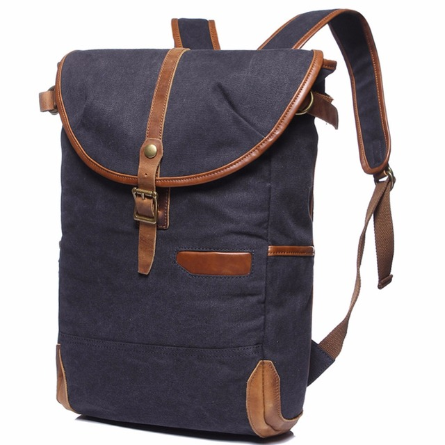 New Men s Women s Vintage Canvas Leather Cotton Rucksack Mountaineering  Book Travel Military Camouflage Backpack School Bag 13