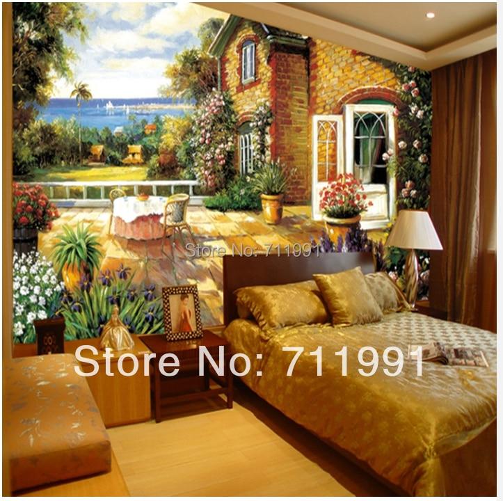Custom Vintage Wallpaper Art Painting Garden Room Living