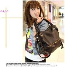 Neue koreanische Frauen Freizeit Kunstleder Quaste Umhängetasche große Kapazität Handtasche schwarz SV18