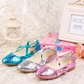 35% Summer Children girl's Elsa girl princess Crystal Rhinestone cross shoes single fashion dance Leather shoes 26-35 1608