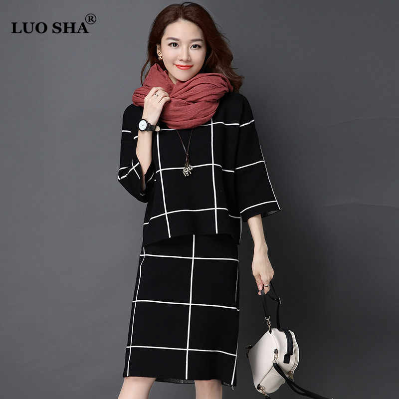 LUO SHA Two Piece Set Women Sweat Suit Female Winter Suit Plaid Sweat Suits Women Costume with Skirt Female Business Suit