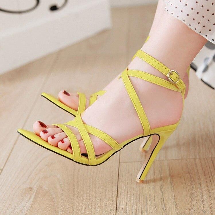 Gros Size11 12 13 14 15 16 17 talons hauts sandales femmes chaussures femme été Ruban, talon haut, poignet boucle sandales à bout ouvert