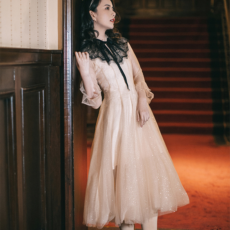 High end customized French Romantic Fairy Dress with lace stitching and gilded pendulum screen dress 8680