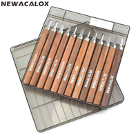 NEWACALOX 12pcs Set Wood Carving Tool Set Woodcut Knife Scorper Hand Cutter Woodworking Hobby Arts Craft