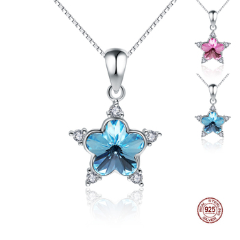 CYW 925-sterling-silver Star Shape Crystal Necklaces & Pendants Sterling-silver-jewelry Accessories Wholesale Gift Necklaces