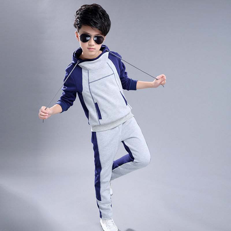 Boys Kids Autumn Cotton School Sports Uniform Suit Clothing Sets For Teens Boys Hooded Tracksuit Clothes 4 6 8 10 12 9 Years New children s clothing set autumn sports suit korean tide casual for 4 5 6 7 8 9 10 11 12 13 years girl baseball uniform sportswear