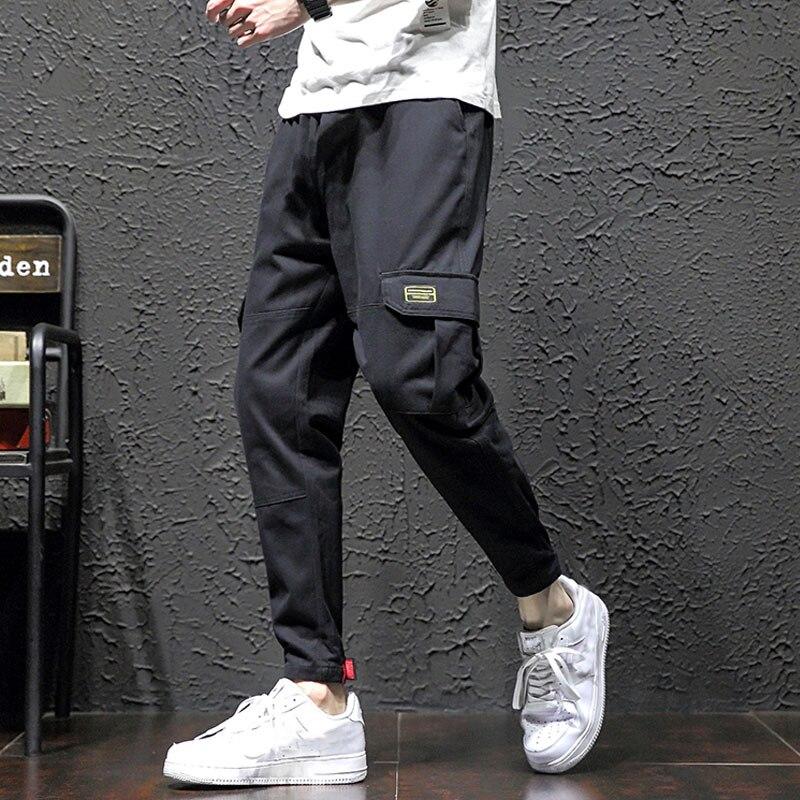 Мужские брюки карго, летние мужские шаровары с несколькими карманами, мужские уличные брюки карго в стиле панк, повседневные брюки в стиле хип хоп, мужские черные брюки для бега Pa|Брюки-карго|   | АлиЭкспресс