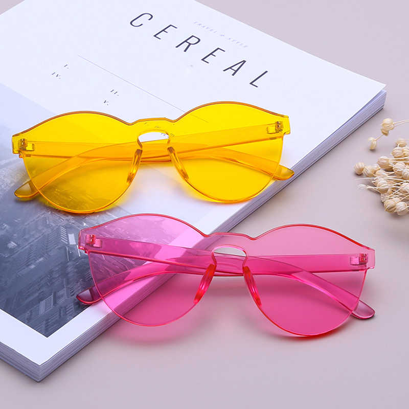 1175358d8f5a AOOFFIV Colorful Glasses One Piece Transparent Candy Color Tinted Eyewear  Sun protection Ladies Goggles UV400 Sunglasses
