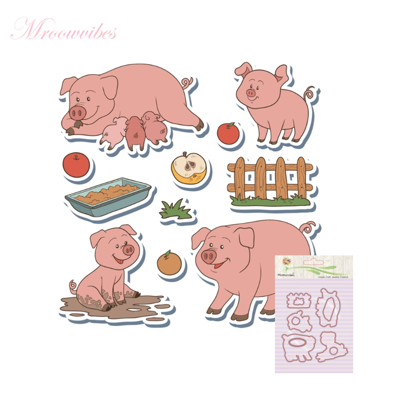 Pig Silicone Clear Stamp+Metal Cutting Dies Stencil Frame Scrapbook Album Decor Clear Stamps Scrapbooking Accessories pig silicone clear stamp metal cutting dies stencil frame scrapbook album decor clear stamps scrapbooking accessories