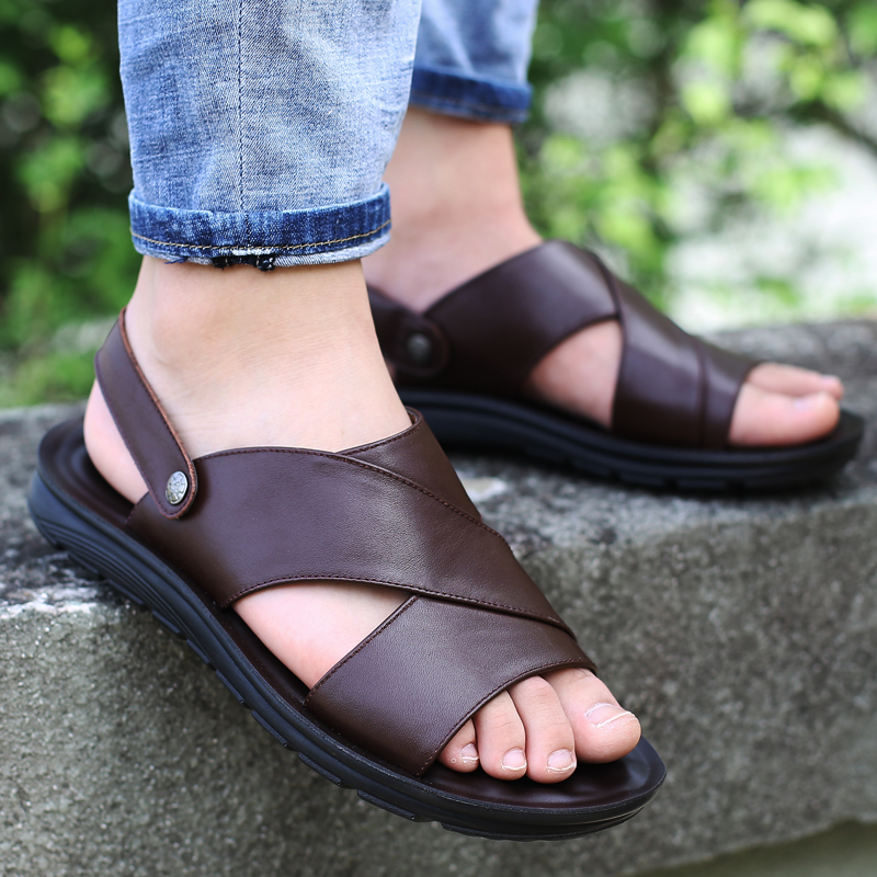 Men Sandals Men's Shoes Genuine-Leather Casual Summer Soft Retro Sewing Handmade