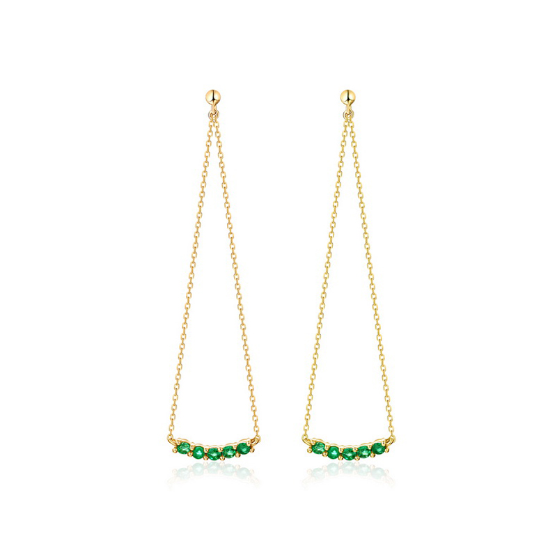 JXXGS Jewelry 14K Gold Elegant Long Earrings With Green Zircon Earrings For Ladies