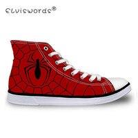 ELVISWORDS высокие Для мужчин из парусины вулканизованные обувь Прохладный паук Логотип печати Для мужчин высокого верха обуви мода Для Мужчин's...