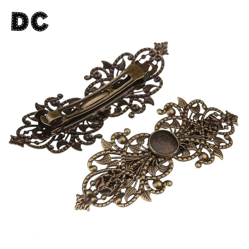 2 pièces cuivre laiton creux filigrane fleur printemps Barrette français pince à cheveux épingles à cheveux rond Cabochon Base 12mm bricolage chapeaux artisanat