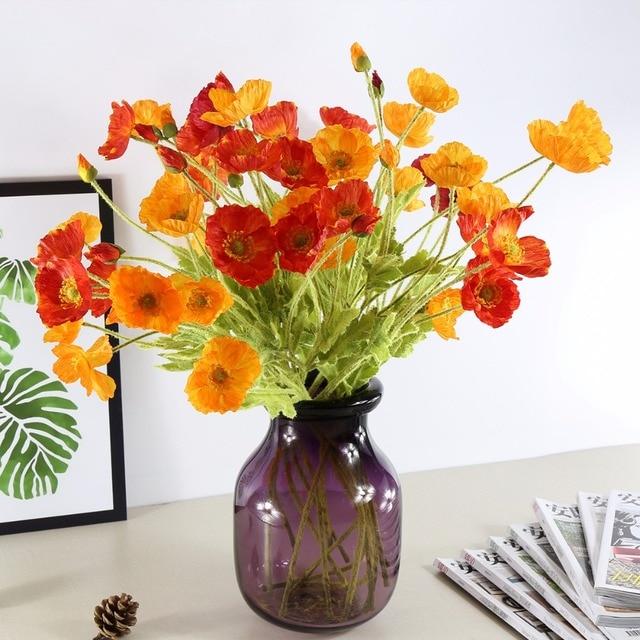 4 Heads Artificial Flowers Poppy Poppies Silk Flowers For Wedding