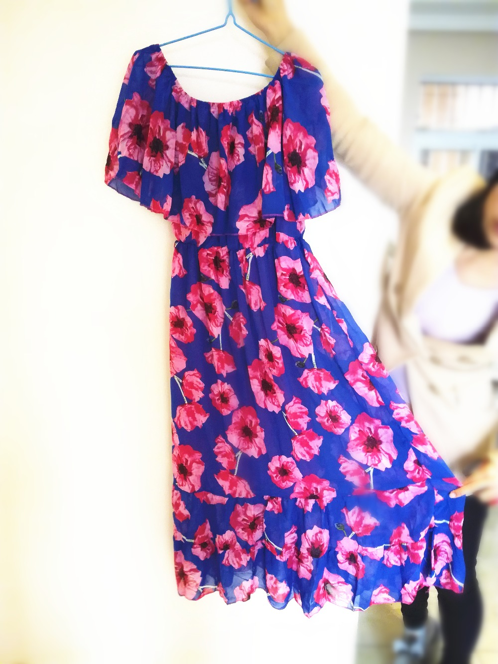 67b98347707 Plus Size summer dress 2019 Bohemian robe Sexy Off Shoulder Ruffle floral  maxi dress women casual boho chiffon beach dress-in Dresses from Women s  Clothing ...