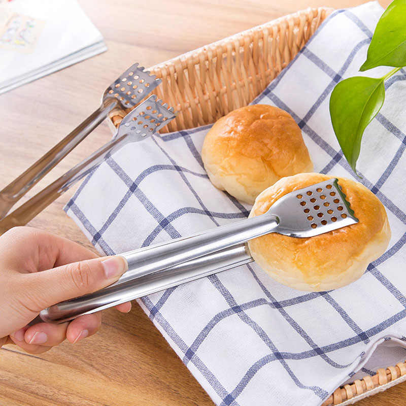 Stainless Steel Bread Clips Cake Tongs  BBQ Clamps Hollowed-out Design Oil Separation Food Dessert Pick Practical Kitchen Tools