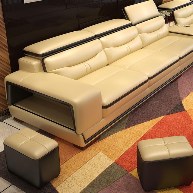 Living Room L Shape Leather Sofa w/ Storage Corner  6