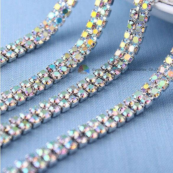 10y 2 rows Close Set Crystal AB Rhinestone Cup Chain Crystal Applique Trim  2 3 4mm stones in Gold Silver For Browband Hairbands 46bb91d7edb5