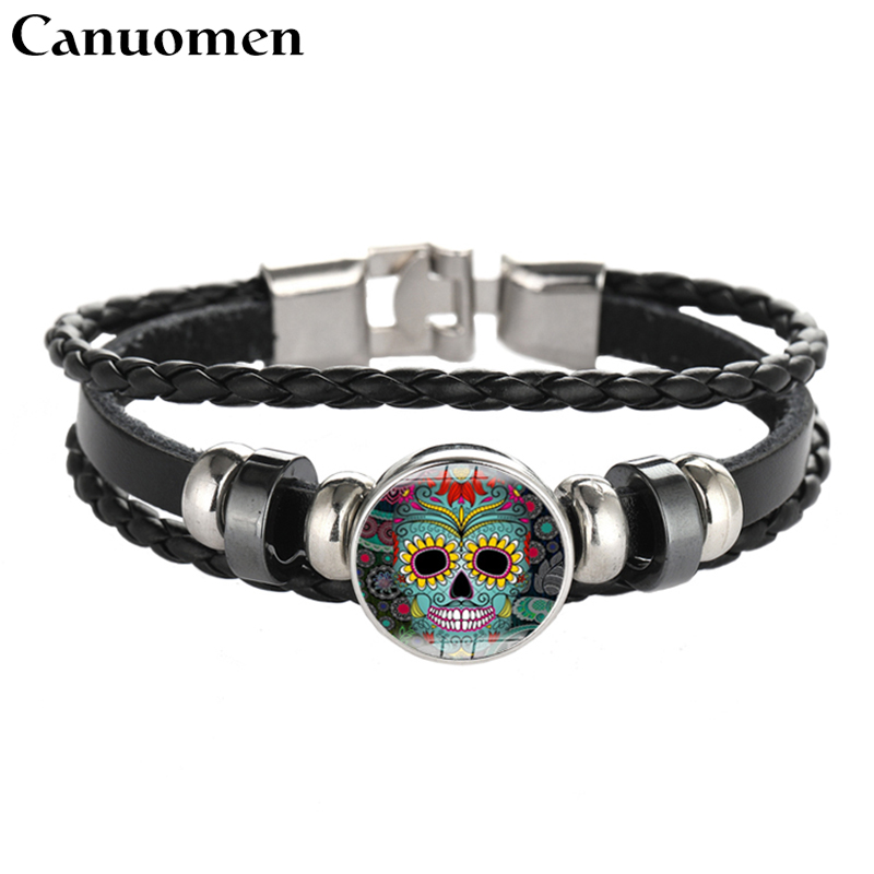 Canuomen Skull Candy Leather Bracelet Skeleton Glass Cabochon Snap Button Punk Black Diy Handmade Women And Men Charm Jewelry