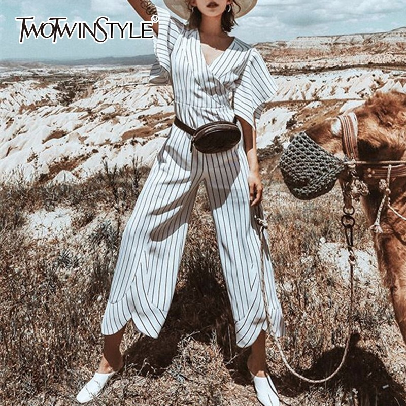 TWOTWINSTYLE Striped   Jumpsuits   V Neck Batwing Sleeve High Waist Patchwork Irregular Wide Leg Pants Summer Fashion OL Clothing
