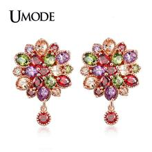 UMODE 2019 New Colorful Zircon Crystal Geometric Flower Drop Earring for Women White Gold Jewelry Boucle D'oreille Femme AUE0585 цена