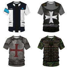 Crusaders knight vikings T-Shirt Female Armor Digital Printing Sweethearts Outfit Movement Leisure With short sleeves Round Col(China)