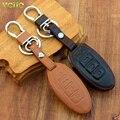 Car Genuine Leather Remote Control Car Keychain Key Cover Case for Nissan Tidda Livida X-Trail T31 T32 Qashqai Teana March Juke