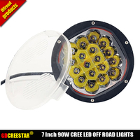 4x4 led work lights 7 INCH 90W combo beam 12v 24v offroad driving light 18LEDs FOR Car SUV,ATV,PICKUP TRUCK BOAT x1pc freeship