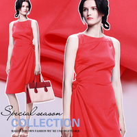 Fresh watermelon red color in Europe and America advanced silkworm silk fabric silk double Palace meager skinny cloth