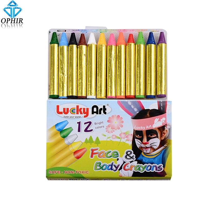 OPHIR 12 Colors Face Body Paint Mini Pigment Crayon Pearl Neon Fluorescent Makeup Children Face Paint Pigment UV Glow Party Set ophir 0 2mm 0 3mm
