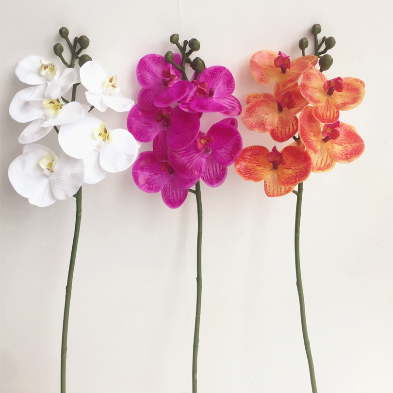 One piece real touch orchid flower 5 head mini latex orchids fake one piece real touch orchid flower 5 head mini latex orchids fake phalaenopsis for wedding centerpieces party decorative flowers in artificial dried junglespirit Images