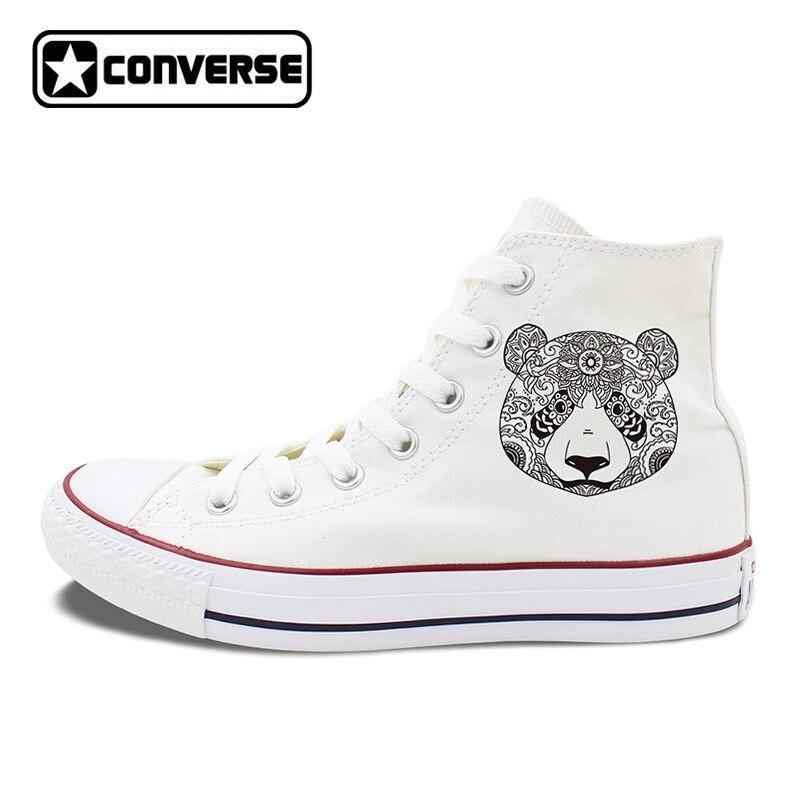 Design Animal Converse Shoes for Men Women Original Panda White Black Canvas Sneakers Unisex High Top Skateboarding Shoes black chuck sneakers original design follow me like it slogan men women s canvas shoes high top converse classic