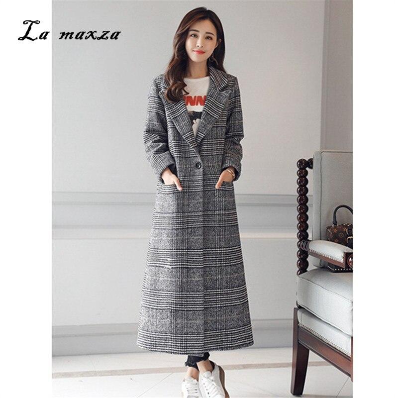 Женское пальто, зимнее, в Корейском стиле, клетчатое, модное, элегантное, повседневное, длинное, большого размера 2020