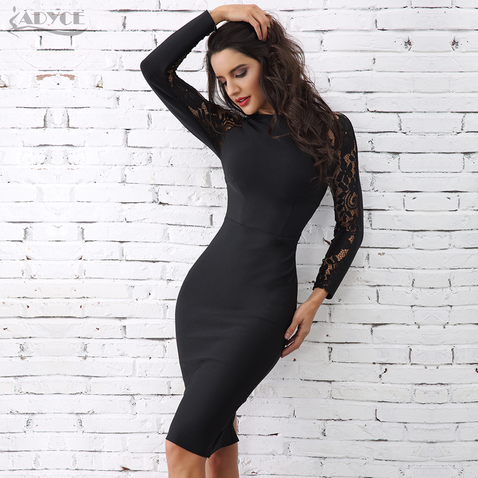 Adyce 2019 Winter Elegant Lace Bandage Dress Women Black Floral Long Sleeve Hollow Out Clubwear Sexy Midi Celebrity Party Dress