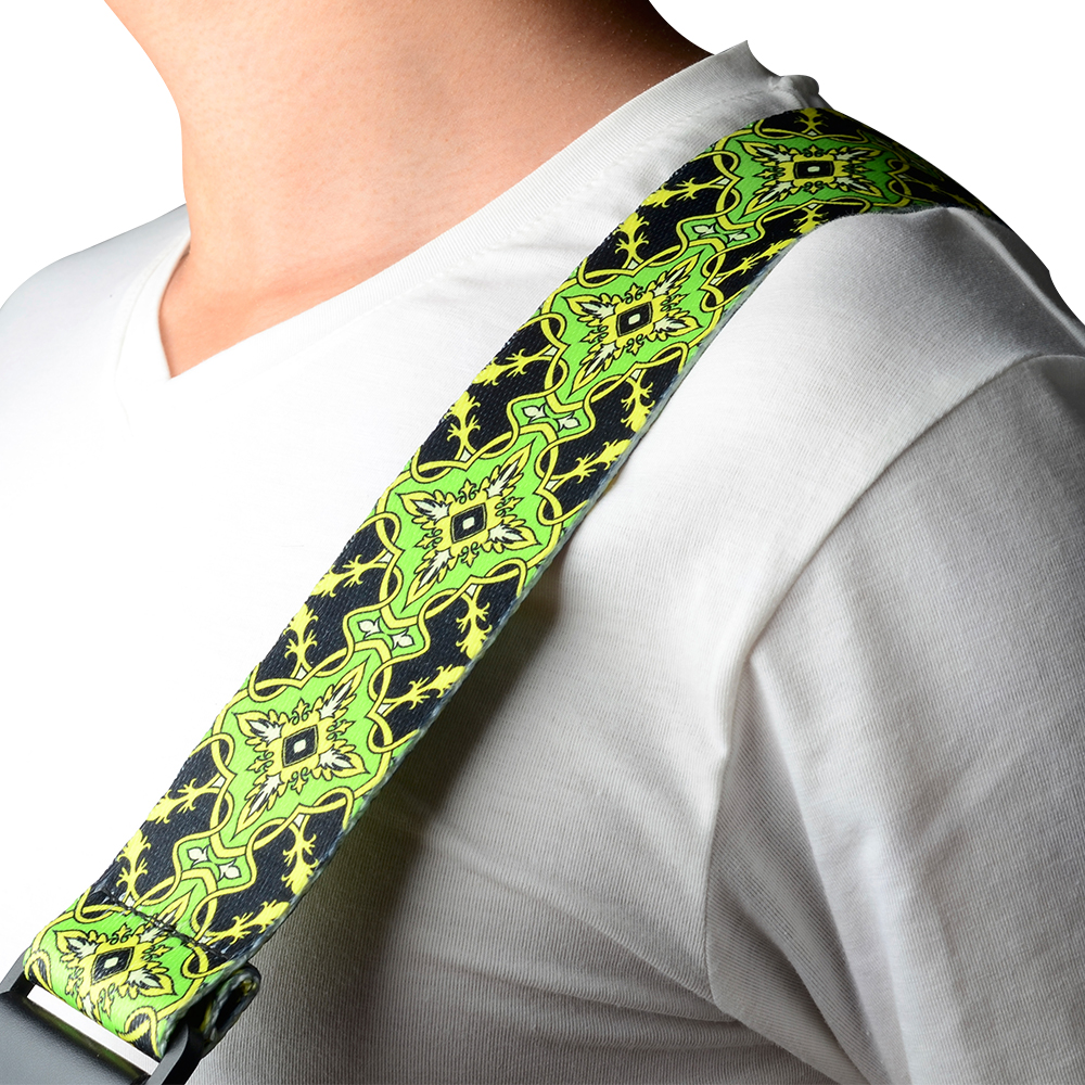 Green Pattern Polyester Guitar Strap for Electric Bass Guitar 68-129 cm polyester and nylon guitar strap for acoustic electric guitar and bass multi color guitar belt s008