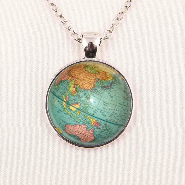 Hot glass dome jewelry vintage globe necklace planet earth world map hot glass dome jewelry vintage globe necklace planet earth world map necklace art glass dome pendant gumiabroncs Image collections