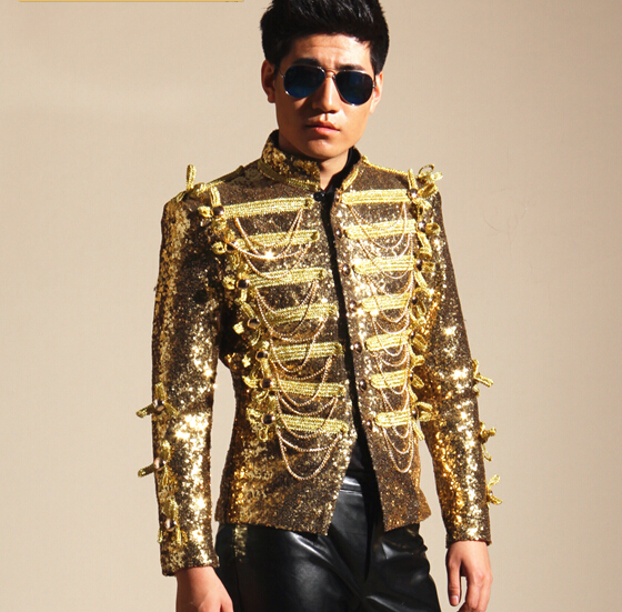 109d514e0a Gold Sequins Tassel Jacket Male Singers Jacket Mens Fashion DJ Ds Bar Nightclub  Costume Outerwear Blazer Light Outfit