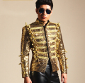 Gold Sequins Tassel Jacket Male Singers Jacket Mens Fashion DJ Ds Bar Nightclub Costume Outerwear Blazer Light Outfit