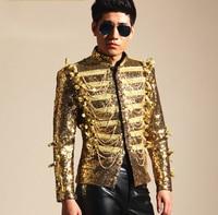 Gold Sequins Tassel Jacket Male Singers Jacket Mens Fashion DJ Ds Bar Nightclub Costume Outerwear Blazer Light Outfit